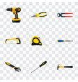 realistic chisel carpenter pliers and other vector image