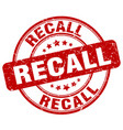 recall red grunge stamp vector image vector image