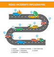 road incident infographic vector image vector image