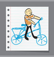 running on bicycle vector image