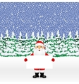 Santa peeping from behind a big white banner vector image vector image
