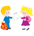 Schoolboy and schoolgirl vector image vector image