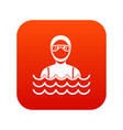 scuba diver man in diving suit icon digital red vector image vector image