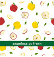 seamless pattern of yellow and red apples and vector image vector image