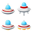 set of colorful alien spaceships isolated on white vector image vector image