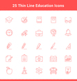 set thin line stroke education icons vector image vector image