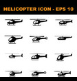 set twelve helicopter black icon simple and vector image