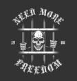 Skeleton prisoner behind bars