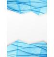 Swoosh wave geometrical border blue brochurejpg vector image vector image