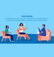 three women in red chairs drink tea and discussion vector image vector image