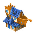 toy house brown and blue color in style the vector image vector image