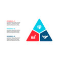triangle infographic with 3 options for vector image vector image