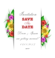 Tropical flowers invitation card template vector image