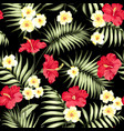 tropical plumeria and green palm leaves vector image vector image