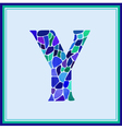 Y - letter - Green Watercolor mosaic vector image