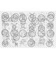 zodiac signs and moon calendar doodle set vector image