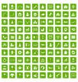 100 nursery school icons set grunge green vector image vector image