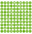 100 website icons hexagon green vector image vector image