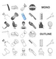 barbershop and equipment monochrom icons in set vector image