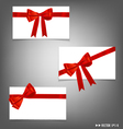 Card with red ribbons bows vector image