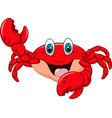 cartoon happy crab isolated on white background vector image vector image