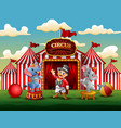 circus show with trainer and two elephants vector image vector image