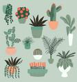 collection hand drawn indoor house plants vector image