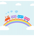 Colorful train on rainbow vector image