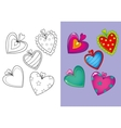 Coloring Book Of Set Different Hearts vector image vector image