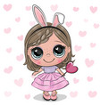 cute girl in a dress and with lollipop vector image