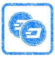 dash coins framed stamp vector image vector image