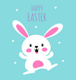 easter card with cute happy bunny isolated vector image vector image
