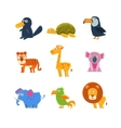 Exotic Toy Fauna Set vector image vector image