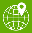 globe with pin icon green vector image