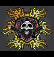 halloween skull glock pistols fire flames design vector image