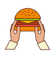 hands with burger on white background vector image