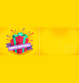 happy birthday holiday postcard with wrapped gift vector image vector image