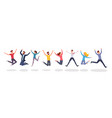 happy jumping people flat group jump vector image vector image
