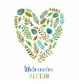 Heart of watercolor leaves vector image vector image