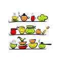 Kitchen utensils characters on shelves sketch vector image vector image
