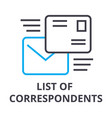 list of correspondents thin line icon sign vector image