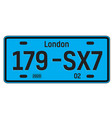 london car plate vector image
