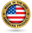 Made in the USA american product gold label with vector image vector image