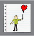 man holding a balloon in the form of heart vector image vector image