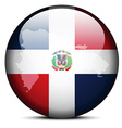 Map on flag button of Dominican Republic vector image