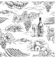 monochrome seamless pattern with grapes and vector image