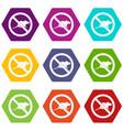 no rats sign icon set color hexahedron vector image vector image