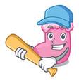 playing baseball sock character cartoon style vector image