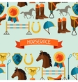 Seamless pattern with horse equipment in flat vector image