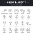 set line icons online payments vector image